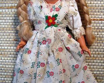Vintage German Doll in Native Dress with Braids