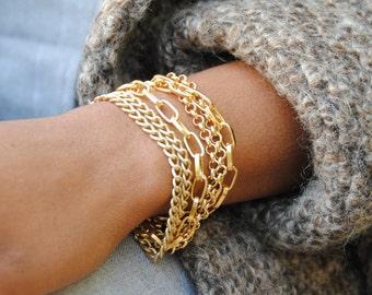 Multi Strand Bracelet-Multi Chain Bracelet-Gold Chain Bracelet-Multistrand Bracelet-Multichain Bracelet-Gold Bracelet-Gift for Her