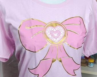 Magical Girl Bow Metallic and Pastel Graphic T Shirt Kawaii Fairy Kei Pastel Goth