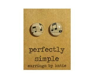Music Notes (hand drawn)stud earrings