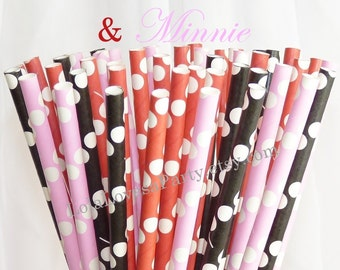 MICKEY & MINNIE assorted Paper Drinking Straws, Mickey, Birthday Party,Ice Cream bar, Pirates, Carnival, Circus, Curious George, Sock Monkey
