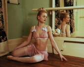 Pink lace bra with white satin bows - bridal lingerie in sheer floral lace - BLUSH Bra
