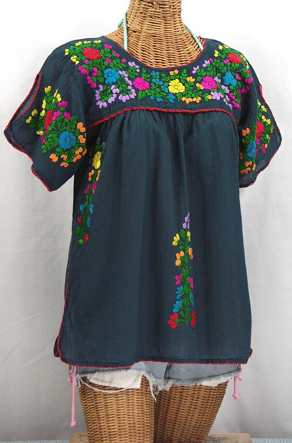 splitsleeve mexican peasant top blouse hand embroidered