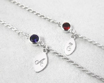 Custom name bracelet tag, sterling silver letter tag, personalized name charm bracelet