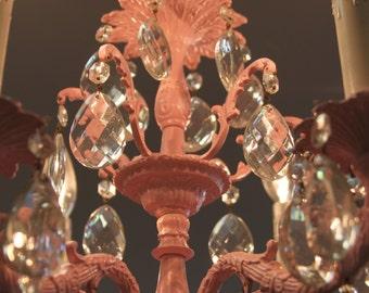 Pink Chandelier w. 60 Original Glass Teardrops