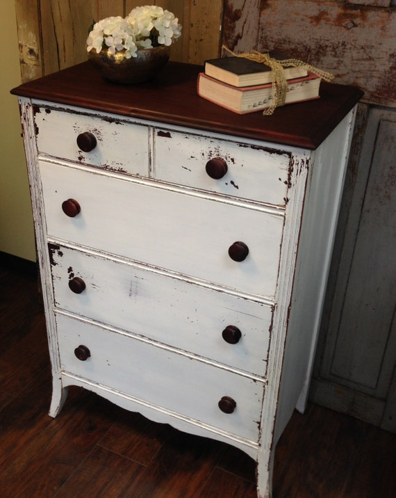 White Dresser Painted Chippy Tall Chest Of Drawers
