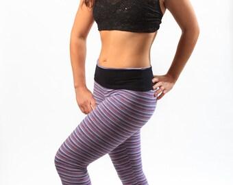 Yoga set-Purple hippie striped leggings.