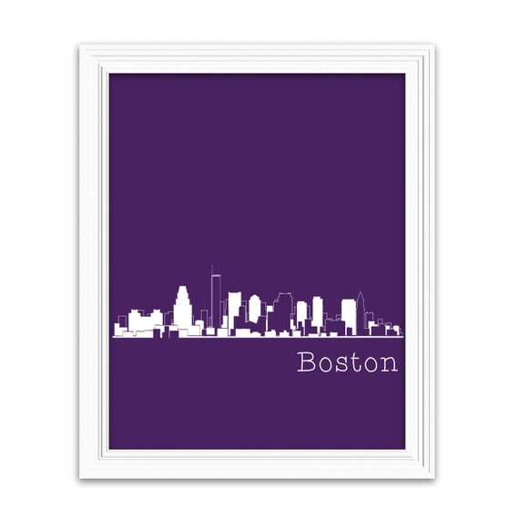 Boston City Skyline Print Wall Art Poster Also By
