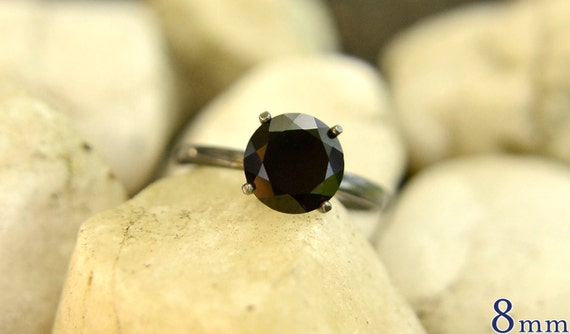 Silver Ring in Black Spinel, Bridesmaids Gift, Silver Ring with Oxidized Patina, Promise Ring, Engagement Ring, Wedding Ring