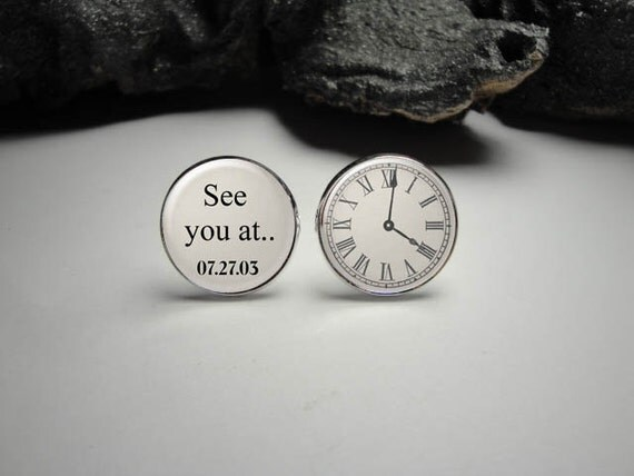 see you at clock cuff links wedding time cuff links custom