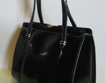 Sweet vintage black lizard reptile skin leather bag