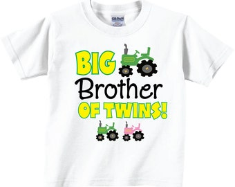 Big Brother of Twins shirts with Cute Tractors