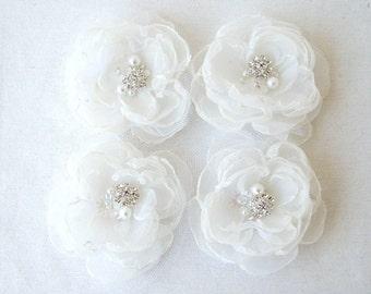 Bridal Hair Accessories Weddings Hair White Organza Flower Hair Clips Bobby Pins Wedding Flowers Flower Girl Hair Bridesmaid Hair Set Of 4