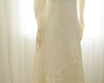 Vintage Satin Wedding Gown 1940's Slim Fitted with Original Floral Trim Detail
