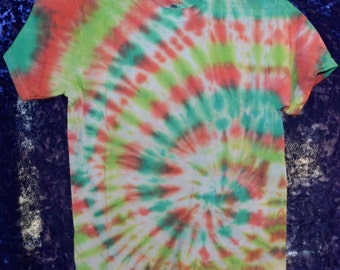 Upcycled Youth SIZE M Classic Side-Spiral Tie-Dye T-Shirt in Lime, Teal, Orange, and White