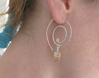 Large Spiral Hoops, Sterling Silver, Silver Earrings, Quartz Earrings, Beaded Earrings