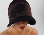 Flapper Hat Felt hat cloche hat CLOCHE Felted hat 1930s hat  Lace JAZZ HAT Black Art Hat felt nunofelt nuno felt silk eco art deco
