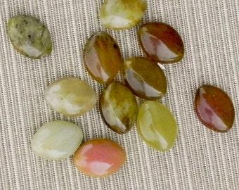 13x18mm Rainbow Soocho Jade Czech Glass Spindle Bead - 865 - Mix Soocho Jade