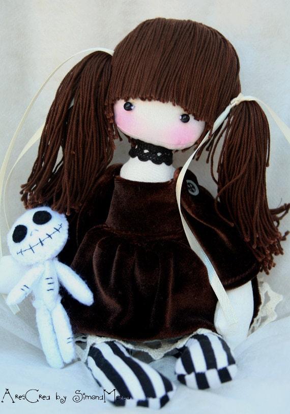 Handmade Gothic Harajuku Fashion W H Naoto Spiderweb Bag: Adele Handmade Gothic Doll And Her Spooky Companion