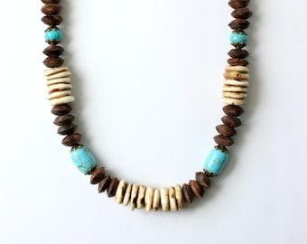 Gaia Necklace  - Conch Shell Turquoise Wood Beaded Necklace - Boho Bohemian Choker length