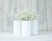 Painted tin cans. Wedding tin can vases and centerpieces. White vases, Barn weddings.