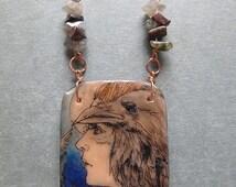 Goddess Morrigan Pendant Polymer Clay Transfer Art Pendant Warrior Woman Fantasy Art Nouveau Pagan Illustration Jewelry