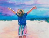 Watercolor Painting of Little Boy with Outstretched Arms on Beach, Paintings of Children, Beach paintings, New Day, Praise Boy, Joyful noise