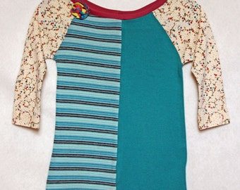 Girls' Size 3 OOAK Upcycled T Shirt Dress withStripes and Floral Print  Raglan Long Sleeves
