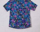 Cotton short sleeved neon Hawaiian button down casual shirt.