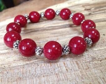 Red beaded bracelet, red gemstone bracelet, silver beads,  stretch bracelet, stackable bracelet, chunky jewelry, semiprecious stone beads