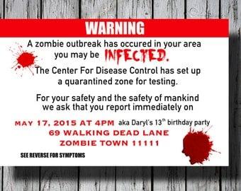 zombie invite | etsy, Party invitations
