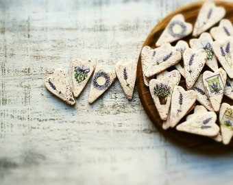 Rustic wedding favors hearts magnets cottage chic guest favors shabby chic bridal shower brown off white ivory green lavender Provence