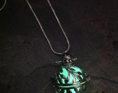 Steampunk Silver Vines Glow In The Dark Pendant Locket in Green or Aqua