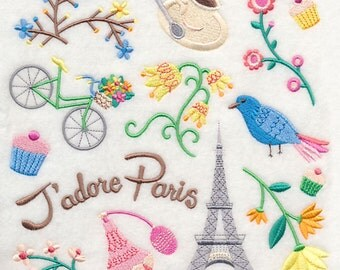 J'adore Paris Collage Embroidered on Made-to-Order Pillow Cover