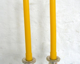 Pair Beeswax Colonial Taper Candles Hand Crafted By The Beekeeper