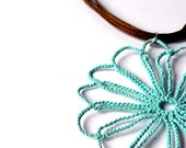Crochet pendant mint, big flower, rew nek in cotton brown, spring summer, minty fresh, minimal trendy woman accessories - flowers collection