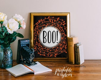 Halloween Printable art print wall art digital decor poster BOO halloween party decoration fall decor autumn decoraINSTANT DOWNLOAD