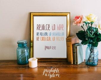 Bible verse Printable, Scripture print christian wall art, decor poster - Romans 12:12 - digital typography Printable Wisdom