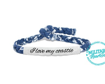I love my coastie, Customizable Military Bracelet - Coast Guard, Army, Air Force, Navy, Wife, Girlfriend, Fiance