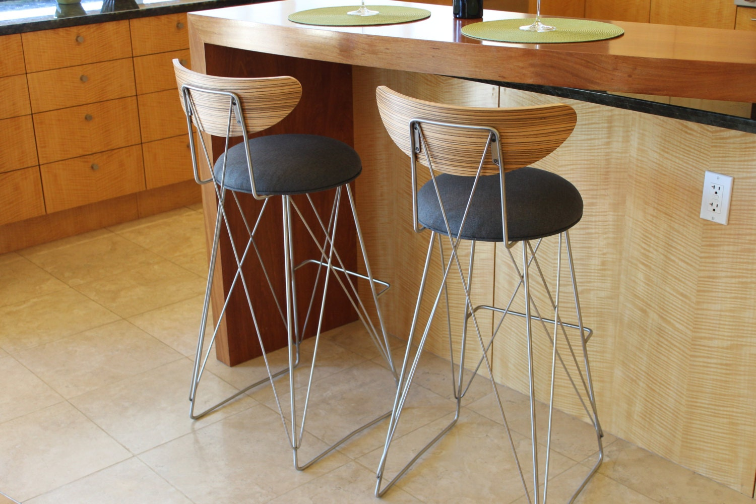 A Pair Of Stainless Steel Mid Century Bar Stools Bar Height