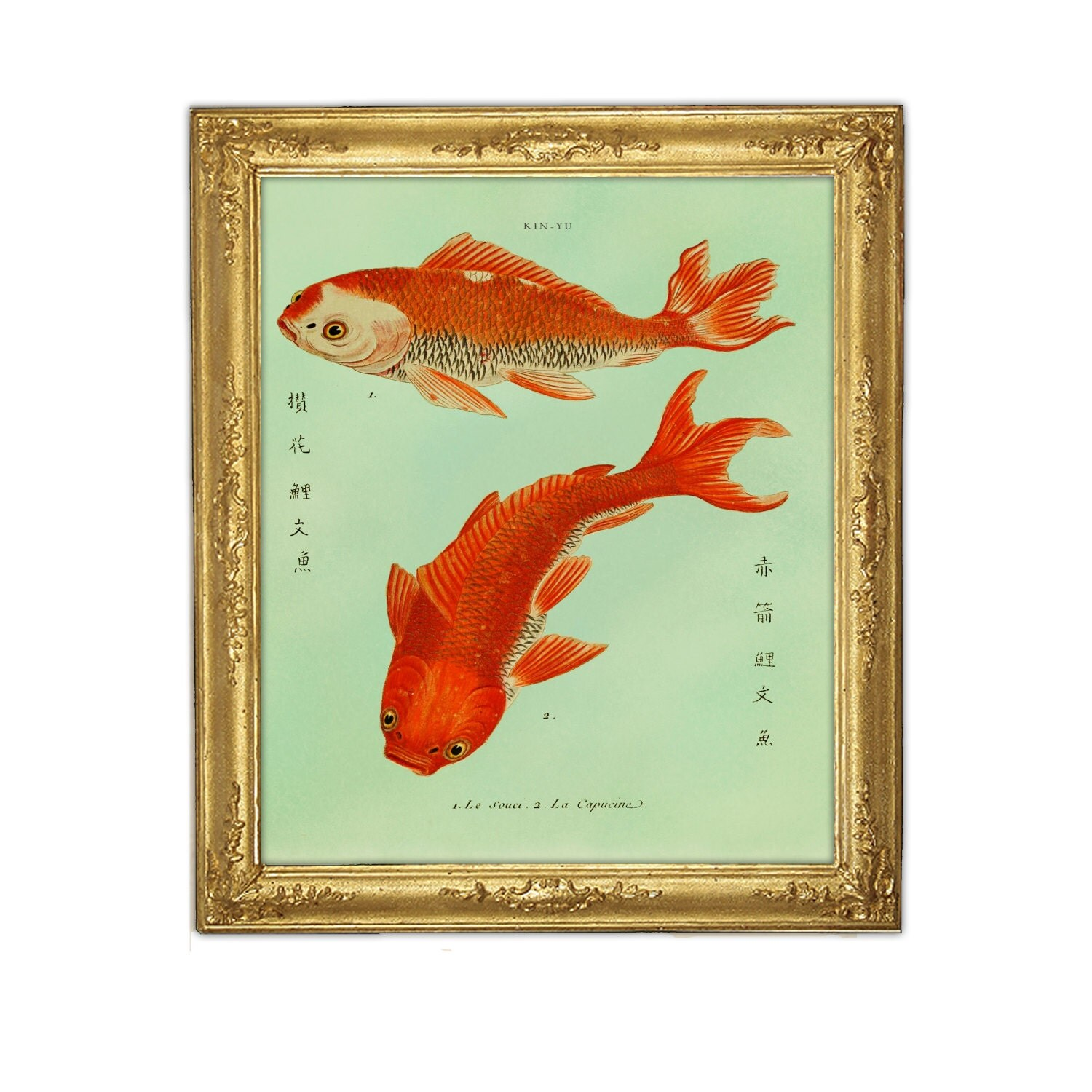 two goldfish koi print fish art feng shui art marriage love. Black Bedroom Furniture Sets. Home Design Ideas