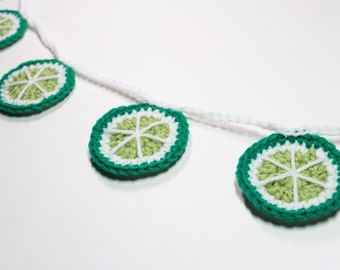 Lime Garland, Crochet Bunting, Kitchen Fruit Decor, Wall Hanging, Summer Party Decoration, Nursery Room Decor