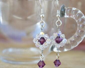 Swarovski Crystal Earrings - Purple Swarovski Earrings - Swarovski Jewelry - Purple Swarovski Jewelry- Purple Earrings - Crystal Jewelry