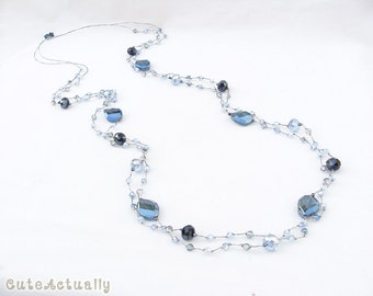 Blue crystal necklace on silk thread, blue necklace, long necklace, double strands