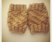 Light brown Hand Knit Boot Cuffs  Custom Made to order