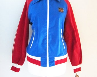 70s NOS Finlayson Sports Jacket in Blue and Red w/ Original Tags, XS-S // Vintage Sport Lassie Soccer Jacket