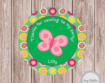 Butterfly Birthday Favor Tags or Stickers Printed for You