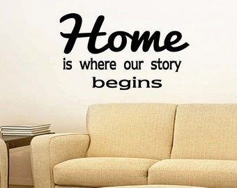 Wall Quotes Home is Where Our Story Begins Vinyl Wall Decal Quote Removable Wall Sticker Home Decor (X013)