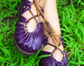 Hand Stitched Leather Sandals, Leather Sandals, Boho Sandals, Womens Sandals, Purple Leather Sandals, Mens Sandals, Hippie Sandals, Sandals