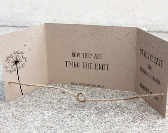 Save the Dates set of 65, tying the knot announcements Kraft Save the Date, Rustic Save the Date, Gatefold Save the Date, Knot Save the Date